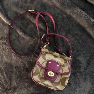 COACH Purple/Tan Crossbody Bag